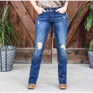 L&B bootcut jeans Dark wash split hem size 4